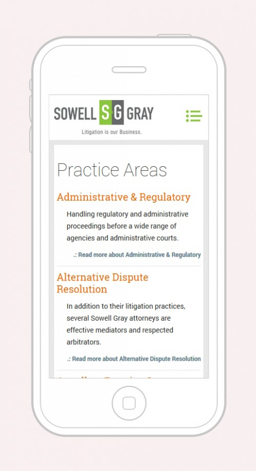 Sowell Gray - Practice Areas Mobile