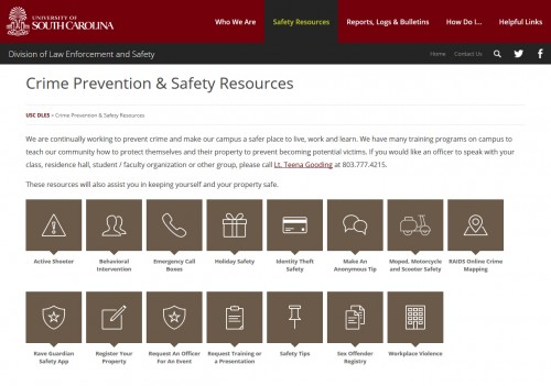 USC - Department of Law Enforcement and Safety - Safety Resources